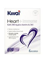 Kwai Heart + Immune Garlic 300mg Plus Vitamins A, C & E 100 One a Day Tablets