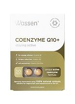 Wassen We Support staying active. COENZYME Q10 + VITAMIN E. 30 Tablets