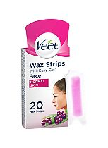 Veet Face Ready-to-Use Wax Strips 20 Wax Strips + 4 Perfect Finish Wipes