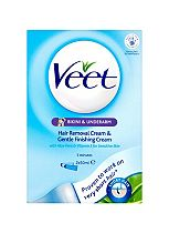 Veet Bikini & Underarm Hair Removal Cream & Gentle Finishing Cream for Sensitive Skin 2 x 50ml