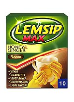 Lemsip Max Honey & Ginger Flavour - 10 Sachets
