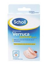 Scholl Verruca Removal System 40% w/w Medicated Plasters - 15 Washproof Plasters 15 Medicated Discs