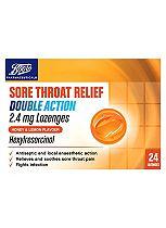 Boots Sore Throat Relief Dual Action Lozenges Honey and Lemon Flavour -24 Lozenges