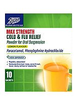 Boots Max Strength Cold & Flu Relief Lemon Flavour - 10 Sachets Paracetamol, Phenylephrine Hydrochloride
