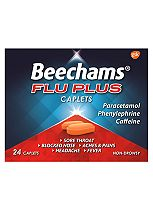 Beechams Flu Plus Caplets - 24 Pack Paracetamol, Caffeine, Phenylephrine Hydrochloride