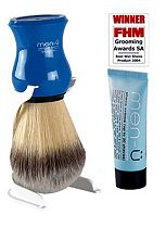 Men-u Premier Shaving Brush blue with stand and free 15ml buddy tube of Men-u Shave Crème