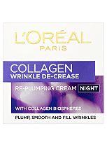 L'Oreal Wrinkle De-Crease Collagen Re-Plumper Night Cream - 50ml