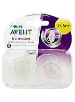 Philips Avent Silicone Translucent Soother 0-6 Months Two Pack