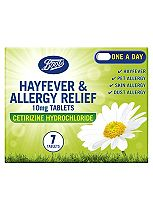 Boots Hayfever & Allergy Relief 10mg Tablets Cetirizine Hydrochloride (7 tablets)