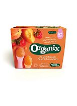 Organix Apple & Peach Apple & Strawberry 4+ Months Stage 1 4 x 100g