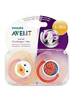 Philips Avent 2 Animal Orthodontic Soothers 6-18m