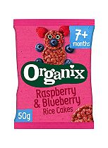 Organix Finger Foods Organic Raspberry & Blueberry Rice Cakes 7+ Months Stage 2 50g