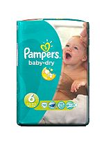 Pampers Baby-Dry Nappies Size 6 Carry Pack - 1 x 19 Nappies