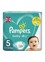 Pampers Baby-Dry Nappies Size 5 Essential Pack - 1 x 39 Nappies