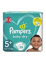 Pampers Baby-Dry Size 5+ Nappies Essential Pack - 1 x 35 Nappies
