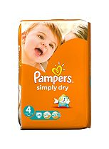 Pampers Simply Dry Nappies Size 4 Large Pack - 46 Nappies