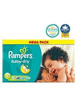 Pampers Baby-Dry Nappies Size 3 Mega Box  - 104 Nappies
