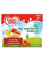 Cow & Gate Pears, Apples, Bananas & Baby Rice Fruit Pots 4x100g