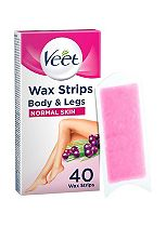 Veet Maxi Pack 40 EasyGrip Ready-to-Use Wax Strips + 4 Perfect Finish Wipes for Normal Skin