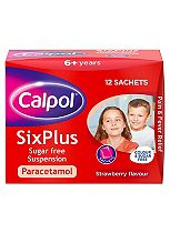 Calpol SixPlus Sugar Free Suspension Strawberry Flavour 6+ Years 12x5ml sachets