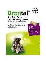 Drontal Dog Tasty Bone 150/144/50 mg tablets - 2 tablets