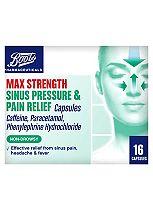 Boots Max Strength Sinus Relief - 16 Capsules Caffeine, Paracetamol, Phenylephrine Hydrochloride