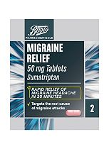 Boots Migraine Relief 50mg Tablets - 2 Tablets Sumatriptan