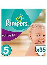 Pampers Active Fit Nappies Size 5 Essential Pack - 35 Nappies.