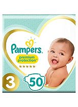 Pampers Premium Protection Nappies Size 3 Essential Pack - 50 Nappies