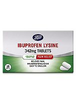 Boots Pharmaceuticals Rapid Ibuprofen Lysine 342 mg Tablets - 16 tablets
