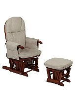 Tutti Bambini Deluxe Reclinable Glider Chair & Stool - Antique Finish