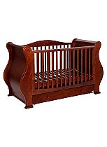 Tutti Bambini Louis Fix Side Sleigh Cot Bed With Drawer - Walnut Finish