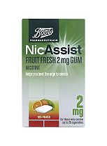 Boots Pharmaceuticals NicAssist Fruit Fresh 2mg Gum- 105 Pieces