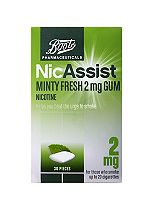 Boots NicAssist 2mg Minty Fresh Gum Nicotine - 30 pieces