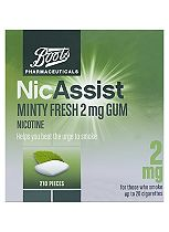 Boots  NicAssist Minty Fresh 2mg Gum Nicotine- 210 Pieces