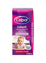 Calpol Infant Sugar Free & Colour Free 120 mg/5 ml Oral Suspension Strawberry Flavour 2+ Months - 100ml