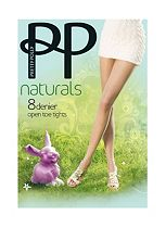 Pretty Polly Naturals Open Toe Tights Slightly Sunkissed