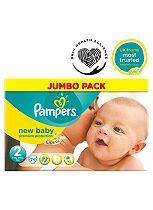 Pampers New Baby Nappies Size 2 Jumbo Box - 74 Nappies