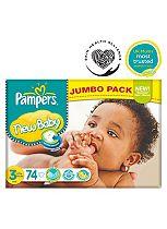 Pampers New Baby Nappies Size 3 Jumbo Box - 74 Nappies