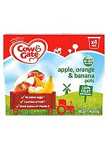 Cow & Gate Apple, Orange & Banana 100% Fruit with Vitamin C from 4-36 Months 4 x 100g