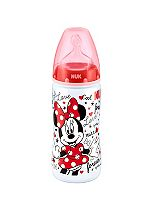 NUK First Choice Mickey and Minnie 300ml Baby Feeding Bottles in Red with Silicone Teat Size 2