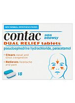 Contac Non Drowsy Dual Relief Tablets - 18 tablets