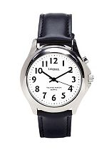 Homecraft Talking Watch with Steel Finish Leather Strap - Mens