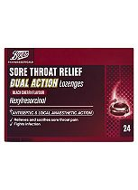 Boots Sore Throat Relief Dual Action Lozenges Black Cherry Flavour - 24 Tablets