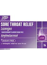 Boots Sore Throat Relief Lozenges Blackcurrant  - 16 Pack