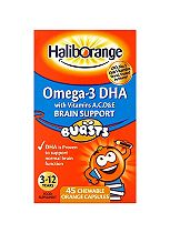 Seven Seas Haliborange Kids Omega-3 with Vitamins A C D & E 45 - Orange Chewable Fruit Burst Capsules