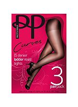 Pretty Polly Curves Ladder Resist Tights Sherry x 3