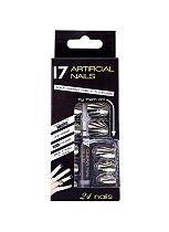 17 Artificial Nails Gold And Black Stripe