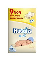 Huggies Pure Wipes - 9 x 64 Pack Wipes