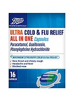 Boots Pharmaceuticals Ultra Cold & Flu Relief All In One 16 Capsules